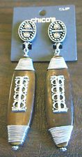 NEW Chico's Sisi CLIP Earrings Wooden Pendants Tribal Style 4 Inches Long NWT