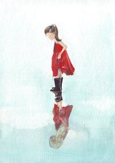 Original girl art watercolor painting dancing in the rain red dress black gumboots reflections via Etsy