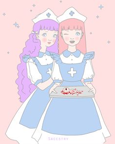 Gemma and Silka as nurses :D I couldn't think of something to go on the tray so I went with the first thing that came to mind, a deformed cyclops baby Nurse Drawing, Creepy Animals, Nurse Art, Candy Art, Creepy Art, Creepy Stuff, Hippie Art, Arte Horror, Lowbrow Art