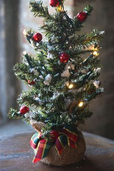 Check out the deal on 12 Inch Battery Operated Snow Tree - Burlap Wrapped Base at Battery Operated Candles