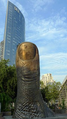 The Thumb: sculpture by César Baldaccini, Paris - La Défense