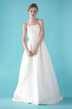 A-line Strapless Lace Accent Hidden Pockets Satin Wedding Dress-wa0375, $192.95