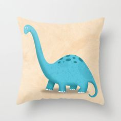 Dinosaur Brontosaurus Pillow Cover by krankykrab