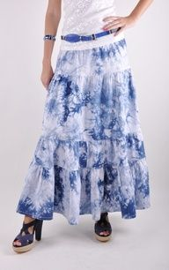 Artistic Tiered Long Jean Skirt