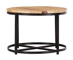 Mesa auxiliar de madera de mango y hierro, natural y negro - 58 cm