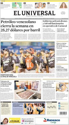 #20160206 #VENEZUELA #CARACAS #ELUNIVERSALdiarioCARACAS Sábado 6 FEB 2016 http://en.kiosko.net/ve/2016-02-06/np/ve_universal.html