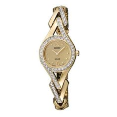 Seiko Ladies Solar Gold Tone Stainless Steel  Champagne Dial Watch and Crystal Elements.