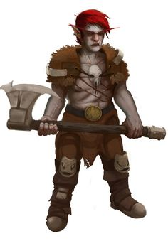 Kloklink, The Barbarian Gnome, warrior, fighter, tribal hero, giant animal hunter, red hair, great outfit, gnome commission by the good WilWhalen !! search him!