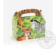 Safari Zoo Animal Treat Cardboard Boxes | Favor Bags and Boxes | Party Collection | The Little Big Companyparty, glass bottles, swizzle sticks, beverage dispenser, birthday, gift, rock candy