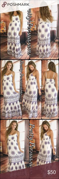 """LAST ONE‼️Medallion Print Ruffle Hem Maxi Dress Available in: Large (LAST ONE‼️)  Large Length: 60"""" Bust: 33"""" (unstretched; is elasticized; stretches to approximately 42"""") Waist: 41"""" Hips: 46""""  Features:  • medallion print   • ruffled bottom • elasticized at back • empire waistline (elasticized) • adjustable straps • lined; non-sheer • woven; lightweight  Colors: Off White, Navy, Blue, Red  100% Rayon  Bundle discounts available  No pp or trades  Item # 1/2PP0340500MPMD white maxi dress boho…"""