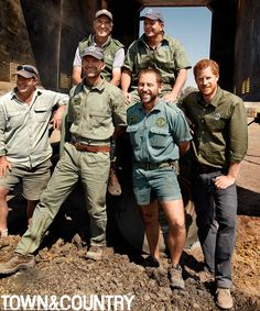 Harry joined a team of conservationists for the project, from left: Lester Vickery, Peter Pearnhead, Prince Harry, Lawrence Munro, Craig Reid and Andre Uys