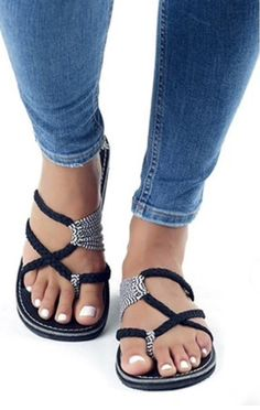 Available Sizes : Heel Height : Heel Height : Flat Boot Shaft : Ankle Color : Black Toe : Round Shoe Vamp : PU Leather Closure : Slip-On/Pull-On Cute Sandals, Cute Shoes, Me Too Shoes, Shoes Sandals, Heels, Flat Sandals, Boho Shoes, Flat Boots, Shoe Boots