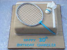 Badminton themed celebration cake with sugar modelled badminton racquet and shuttlecock http://www.cakescrazy.co.uk/details/badminton-cake-2.html