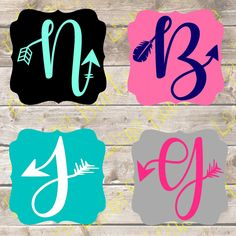 Arrow Initial Monogram Yeti Decal by ButtercupLaine on Etsy