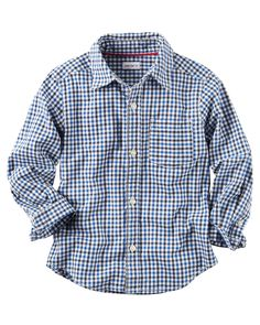 A wardrobe essential, this versatile checkered button-front can be tucked into twills or layered over his favorite henley on chilly fireside nights. Carters Kids Clothes, Carters Clothing, Toddler Boy Outfits, Toddler Boys, Kids Boys, Carter Kids, Cute Toddlers, Boys Shirts, Boy Fashion
