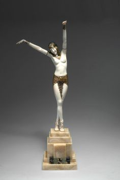 "** Demètre H. Chiparus (Romanian 1886 - 1947), Paris, Sculpture, ""Danseuse d'Egypte"", Cold-painted, Patinated Bronze, Ivory and Onyx Base, 1925."
