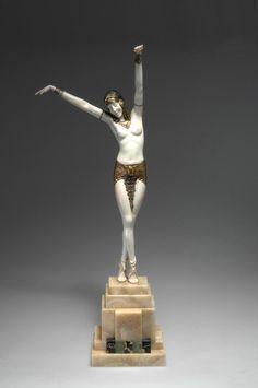 """@ Demetre H. Chiparus (Romanian 1886 - 1947), Paris, Sculpture, """"Danseuse d'Egypte"""", Cold-painted, Patinated Bronze, Ivory and Onyx Base, 1925."""