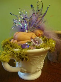 fairy baby purple HIGH TEA in teacup moss ooak art doll wing elf fantasy fairie