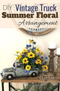 This month in our Wreath Making of the Month Club, learn to make a vintage truck summer floral arrangement for your table using silk flowers by Southern Charm Wreath. #tablearrangement #summerflowers #vintagetruck #vintagetruckdecor #vintagetrucksummer #flowerarrangement #diy Diy Vintage, Vintage Home Decor, Rustic Decor, Diy Home Decor, Vintage Wreath, Room Decor, Tv Decor, Vintage Signs, Red Truck Decor