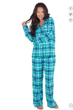 41.57$  Buy here - http://vizsz.justgood.pw/vig/item.php?t=ghoesrn58814 - Pajamagram Wintergreen Plaid Boyfriend Flannel Pajamas SIZE L NWT 41.57$
