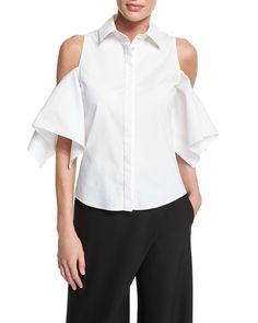 Button-Front Cold-Shoulder Blouse, White - Zac Posen