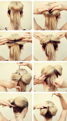 Hair bow bun so cute! Top Hairstyles, Pretty Hairstyles, Simple Hairstyles, Updo Hairstyle, Style Hairstyle, Wedding Hairstyles, Latest Hairstyles, Big Hair Bows, Hair In A Bow
