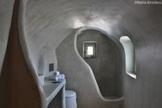 traditional bathroom, architectural sculpture, smooth lines, private villa, mesaria, santorini
