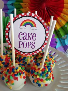 Cake pops were topped with rainbow sprinkles.  Source: Wonderfully Made Events