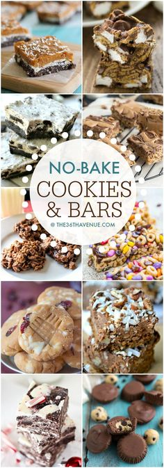 #Recipes Best# No Bake #Cookies and Bar Recipes at the36thavenue.com These are crazy good! #dessert #desserts