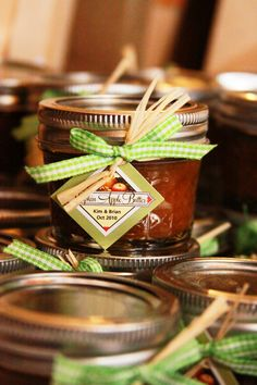 Homemade pumpkin-apple butter for wedding favors for our fall reception- we thought it fit well seeing as how the venue was surrounded by apple orchards and pumpkin patches.