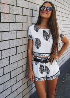 Fashion printing short sleeve two-piece suit L846781