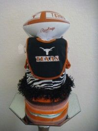Longhorn Diaper Cake-UT, University of Texas, diaper cake, Longhorns, baby gift, shower gift, unique, one-of-a-kind, baby couture gift