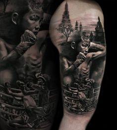 #muaythai #muay thai #realistic #tattoo #fight scene #fightscene #wrestilng #fighting #black and white #blackandawhite