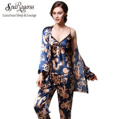 46e2d48a66 SpaRogerss 3 Pcs Robe Pajama Pants Sets 2017 New Fashion Ladies Sleep Lounge  Dragon Print Night