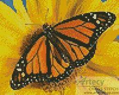 Mini Monarch Sunflower cross stitch chart