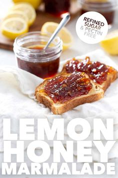 Here's a recipe for homemade Lemon Honey Marmalade. It's a sweet and tart version of old-fashioned marmalade. It's made with only 3 ingredients and refined sugar and pectin free. That makes this AIP jam, paleo and AIP friendly. Jelly Recipes, Lemon Recipes, My Recipes, Whole Food Recipes, Brunch Recipes, Perfect Breakfast, Paleo Breakfast, Breakfast Recipes, Allergy Free Recipes
