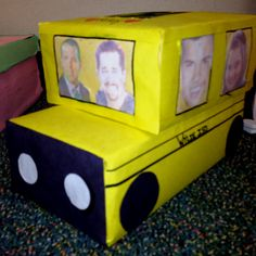 A school bus Valentines Box one of my students made, and I'm the driver and our principal is my co-pilot. She has her face and a couple friends on the side windows. It is really cute.