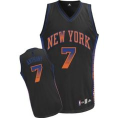 Carmelo Anthony Authentic In Black Adidas NBA New York Knicks Vibe #7 Men's Jersey