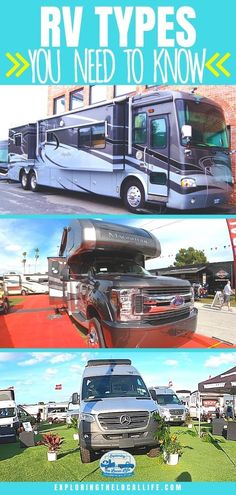 RV shopping, but not sure what types of RVs are out there? Well, here is a starter guide to help you learn about fifth wheels, travel trailers, pop-ups, motorhomes, and more. Rv Travel, Travel Trailers, Rv Campers, Happy Campers, Stealth Camping, Pop Up Trailer, Class A Motorhomes, Small Rv, Rv Homes