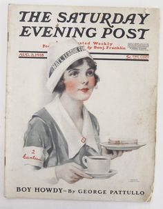 "August, 1918 cover of ""The Saturday Evening Post""."