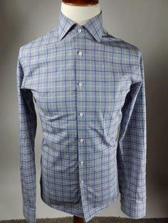 Hugo Boss Sharp Fit Long Sleeve Button Blue Check Stripe Shirt Men 16 36 37  #