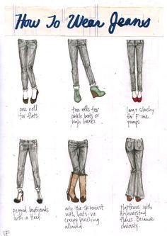 howtowearjeans Jean and shoe matching, made easy  http://www.foxinflats.com.au/2012/01/jean-and-shoe-matching/