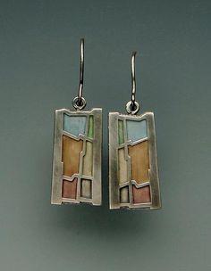 Wave Earrings No.212: Carly Wright: Silver & Enamel Earrings - Artful Home