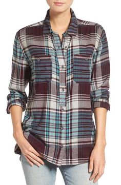 Treasure&Bond Plaid Utility Boyfriend Shirt