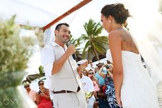 Fabulous couple tying the knot at a destination wedding at the Akiin Beach Club Tulum. Mexico wedding photographers Del Sol Photography.
