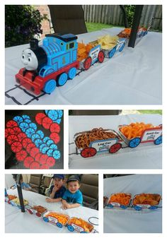 Could use the train idea for a Daniel Tiger bday party too. Thomas the Train Party food decor use aluminum tins and make wheels for train cars Thomas Birthday Parties, Thomas The Train Birthday Party, Trains Birthday Party, Birthday Fun, Birthday Party Themes, Third Birthday, Birthday Ideas, Mesa Candy Bar, Zug Party