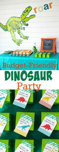 How to create a DIY and budget-friendly birthday party for a dinosaur theme.