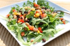 Fall Fest Salad: Black-Eyed Pea Salad over Arugula. I am crazy about arugula, so this is incredibly tempting
