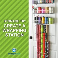 Gear up for the gifting season by organizing your rolls of wrapping paper and boxes of bows like this. Create a full, organized gift wrapping station in your linen or craft closet.