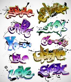 Illustration of Graffiti urban art vector set vector art, clipart and stock vectors. Graffiti Designs, Graffiti Art Drawings, Graffiti Wall Art, Graffiti Styles, Street Art Graffiti, Urban Graffiti, Graffiti Artists, Graffiti Lettering Alphabet, Graffiti Writing